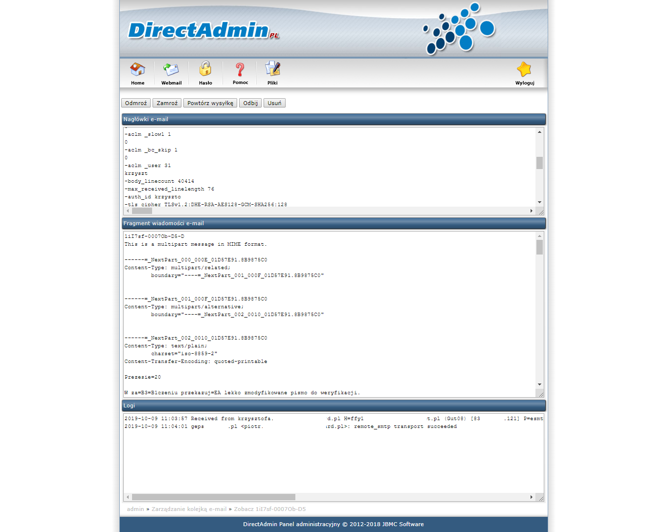 Problem With Mail Queue Directadmin Forums